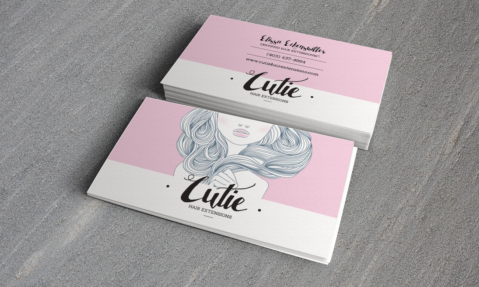 Cutie Hair Extensions Card Portfolio Mockup2