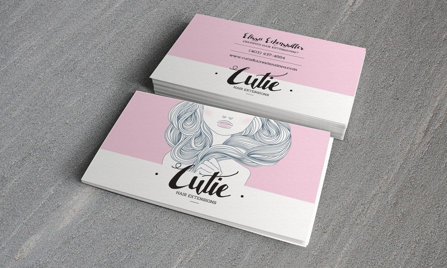 Cutie Hair Extensions Logo and Business Card Design